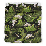 White Orchid Flower Tropical Leaves Pattern Blackground Bedding Set