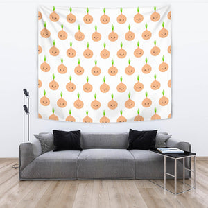 Cute Onions Smiling Faces Wall Tapestry