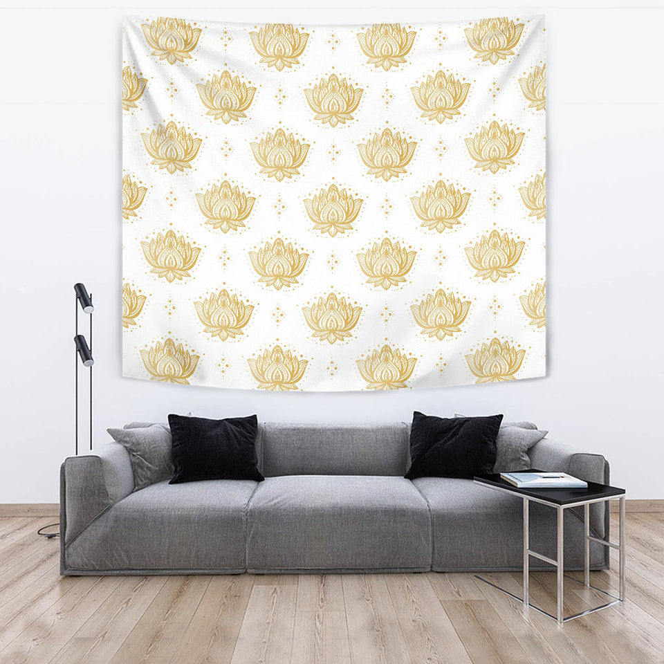 Gold Ornamental Lotue Waterlily Symbol Pattern Wall Tapestry
