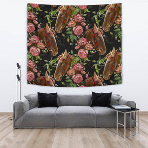 Horse Head Wild Roses Pattern Wall Tapestry