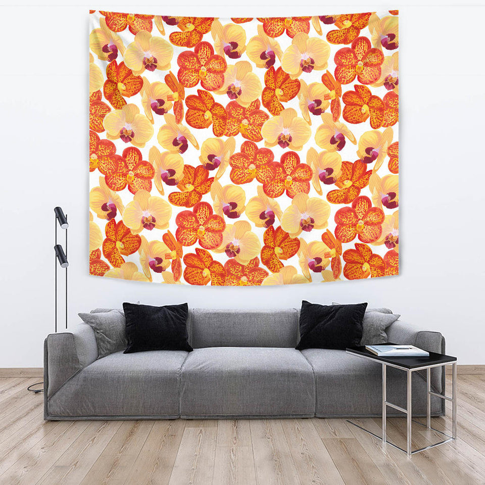 Orange Yellow Orchid Flower Pattern Background Wall Tapestry