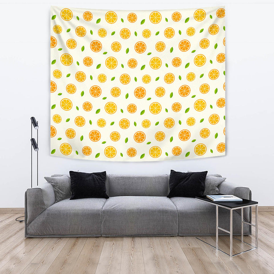Oranges Leaves Pattern Wall Tapestry