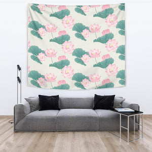 Pink Lotus Waterlily Leaves Pattern Wall Tapestry