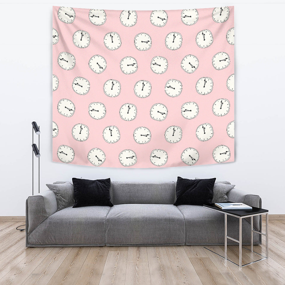 Clock Pattern Pink Blackground Wall Tapestry