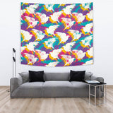 Colorful Crow Illustration Pattern Wall Tapestry