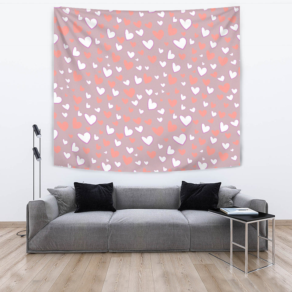 Coral White Heart Pattern Wall Tapestry