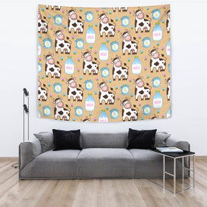 Cow Bottle Of Milk Pattern Wall Tapestry