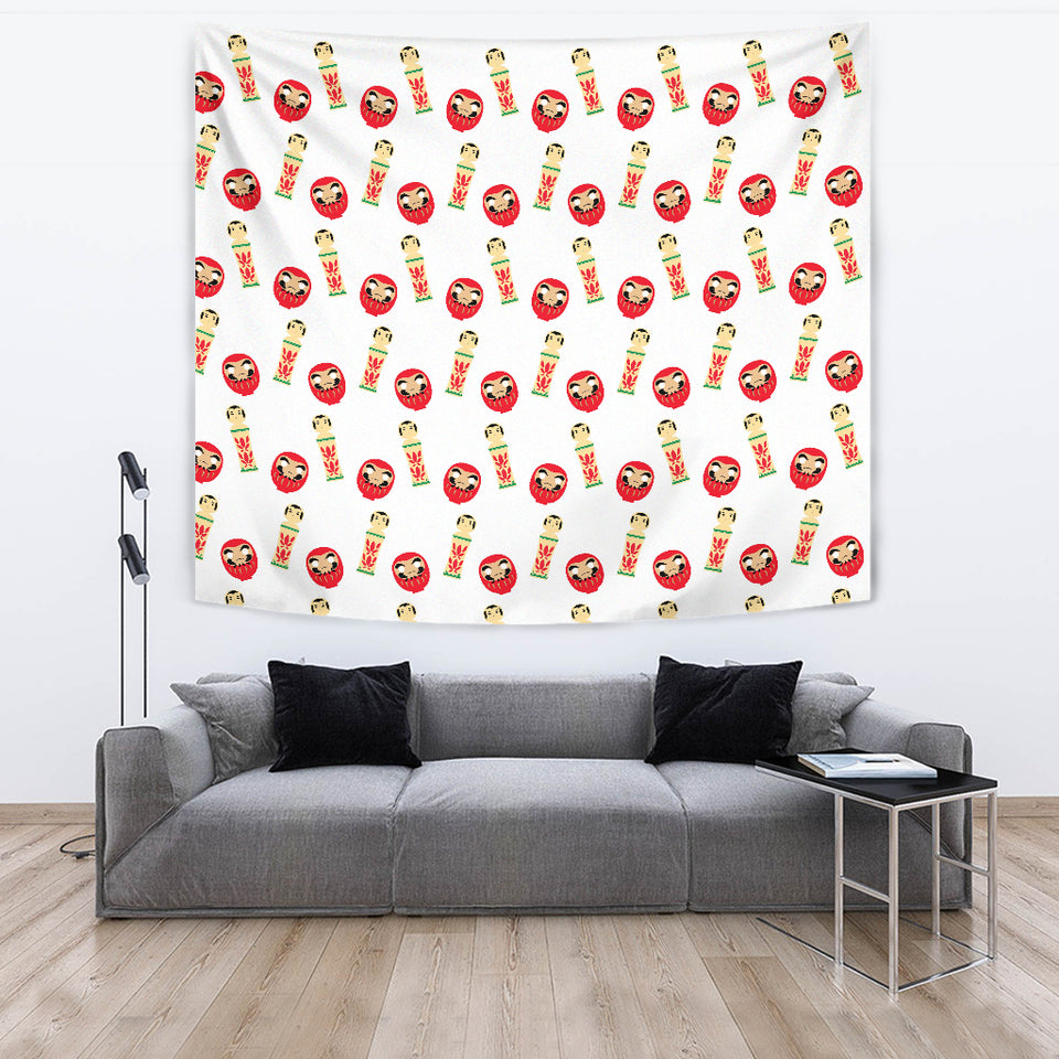 Daruma Japanese Wooden Doll Wall Tapestry