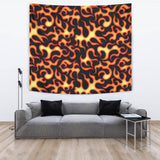Fire Flame Dark Pattern Wall Tapestry