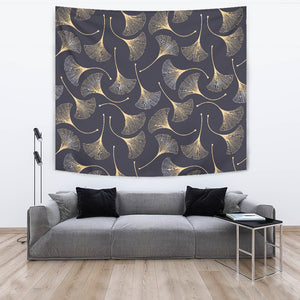 Gold Ginkgo Leaves Wall Tapestry