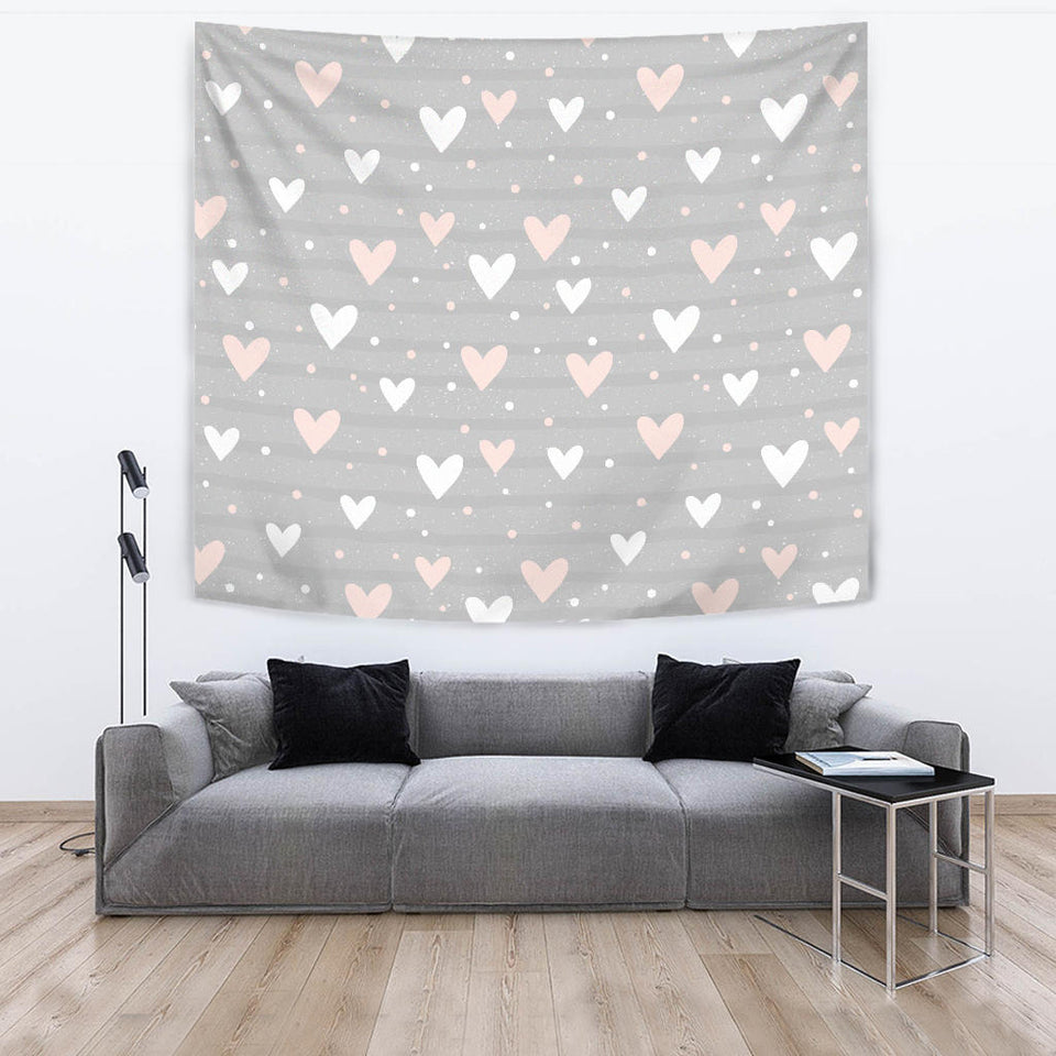 Heart Pattern Gray Background Wall Tapestry