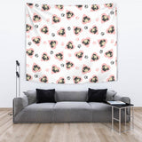 Cute Pugs Pink Heart Paw Pattern Wall Tapestry