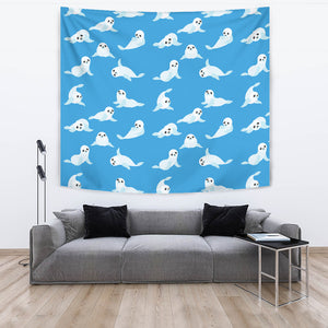 Cute Sea Lion Seal Pattern Background Wall Tapestry