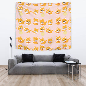 Cute Shiba Inu Dog Pattern  Wall Tapestry