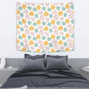 Colorful Onions White Background Wall Tapestry