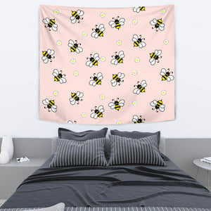 Cute Bee Flower Pattern Pink Background Wall Tapestry