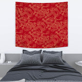 Gold Dragons Red Background Wall Tapestry