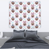 Cute Pug Hat Rabbit Costume Pattern Wall Tapestry