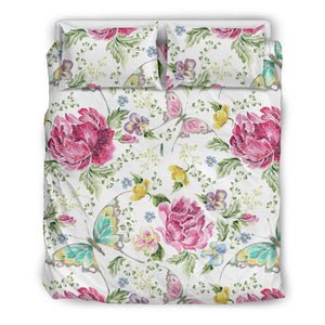 Hand Drawn Butterfly Rose  Bedding Set