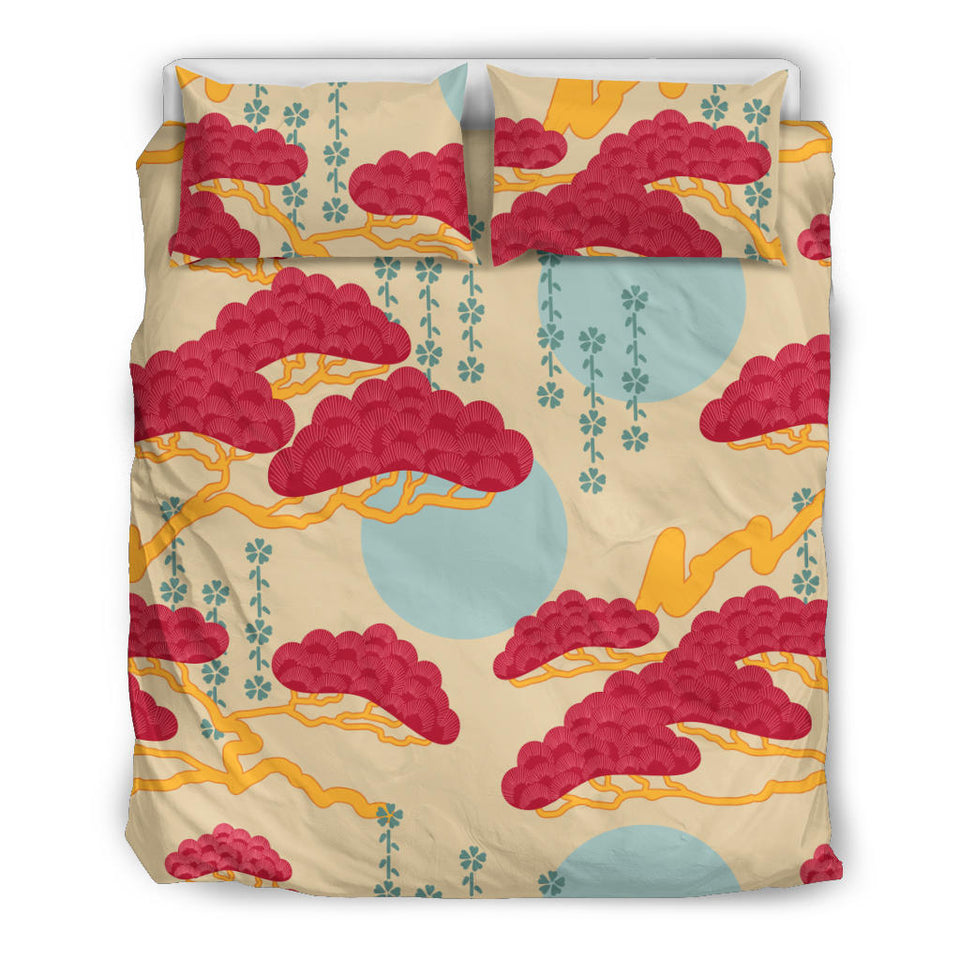 Red Bonsai Gray Sun Japanese Pattern  Bedding Set