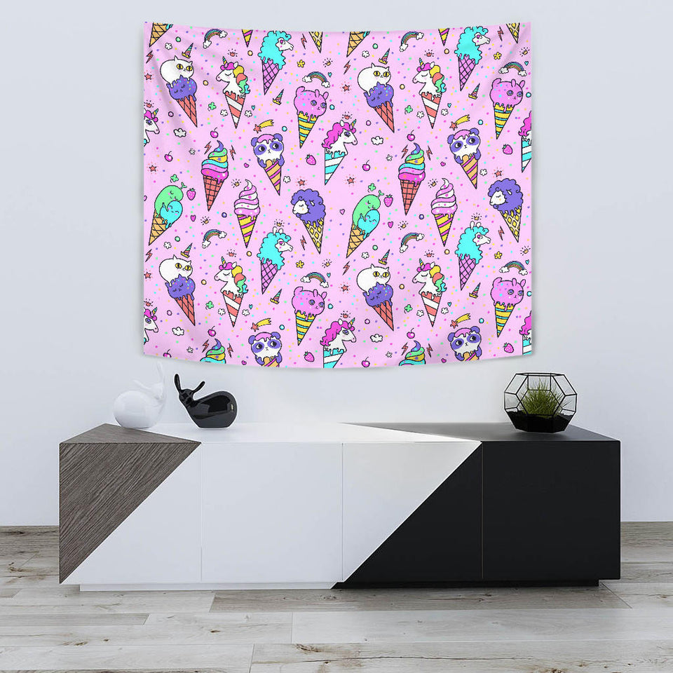 Cute Ice Cream Cone Animal Pattern Wall Tapestry