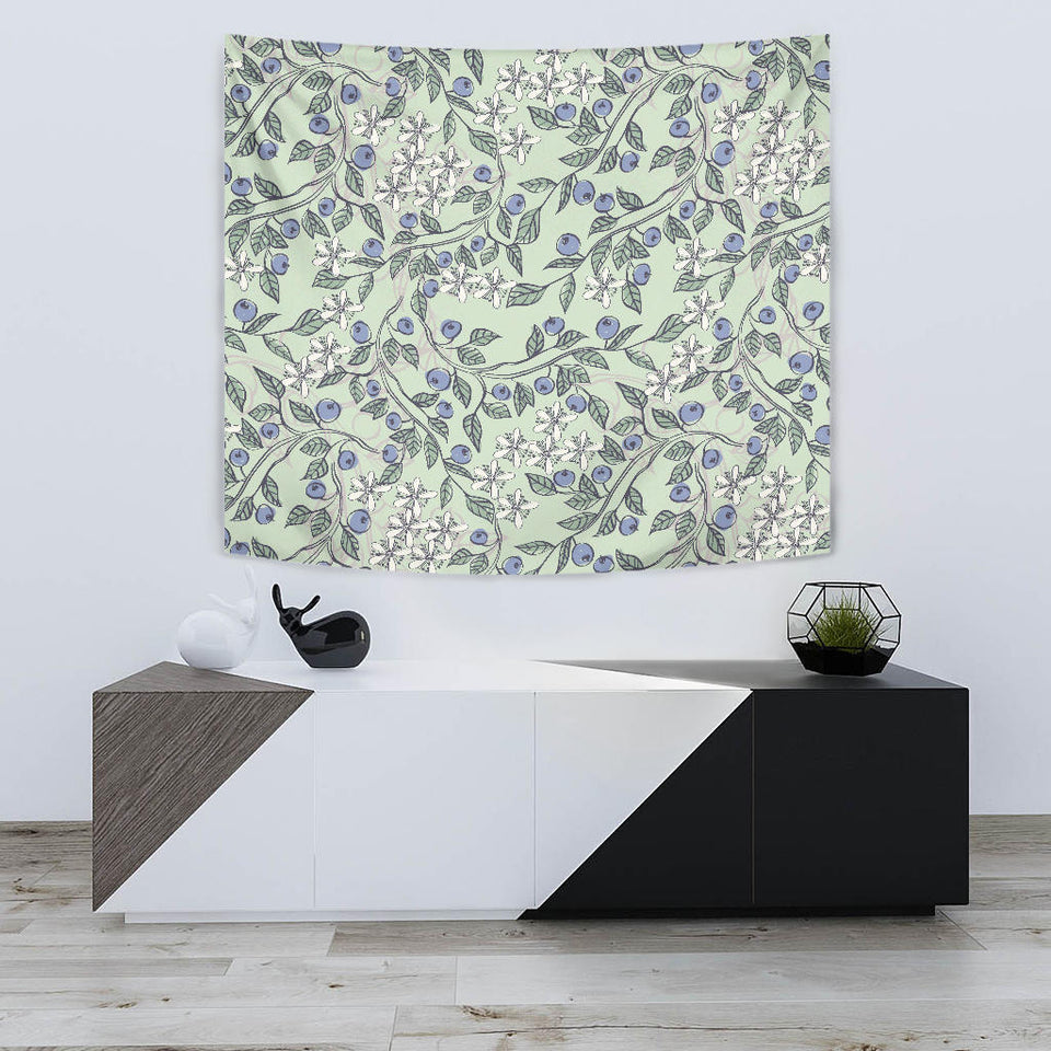 Hand Drawn Blueberry Pattern Wall Tapestry