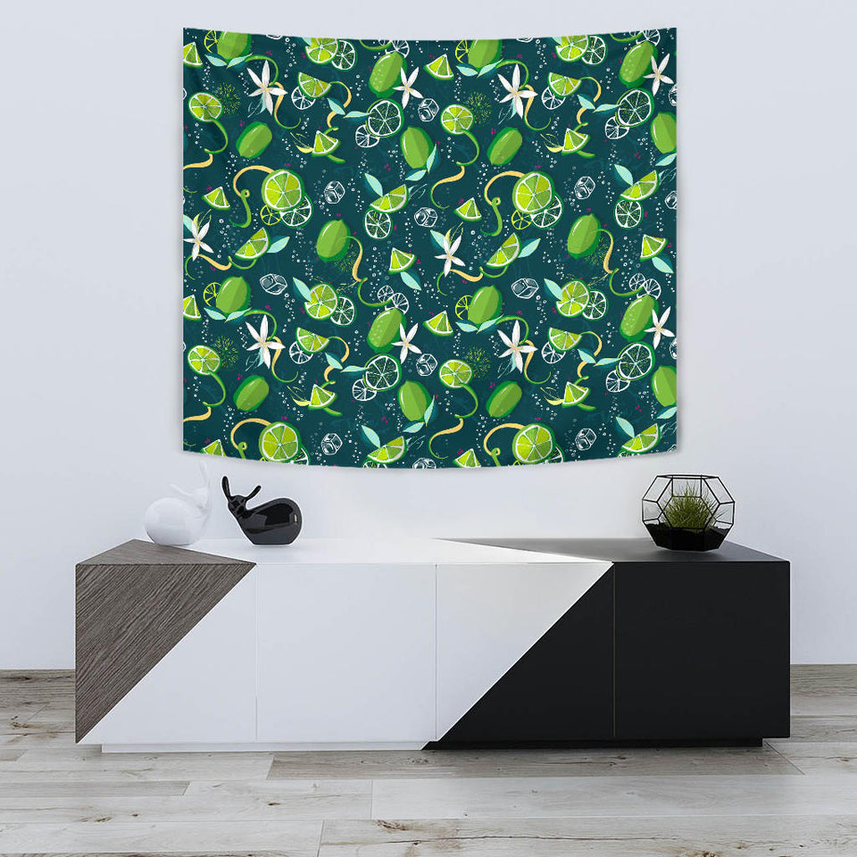 Lime Ice Flower Pattern Wall Tapestry