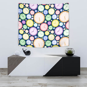 Colorful Clock Background Wall Tapestry