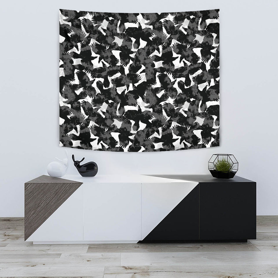 Crow Illustration Pattern Wall Tapestry