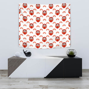 Daruma Japanese Wooden Doll Design Pattern Wall Tapestry