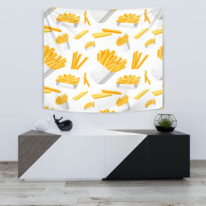 French Fries White Paper Box Pattern Wall Tapestry