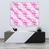 Pink Flamingo Flower Pattern Wall Tapestry