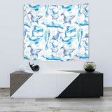 Watercolor Dolphin Pattern Wall Tapestry