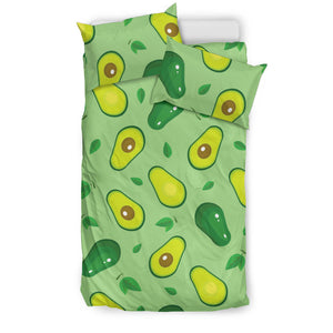 Avocado Pattern Green Background  Bedding Set