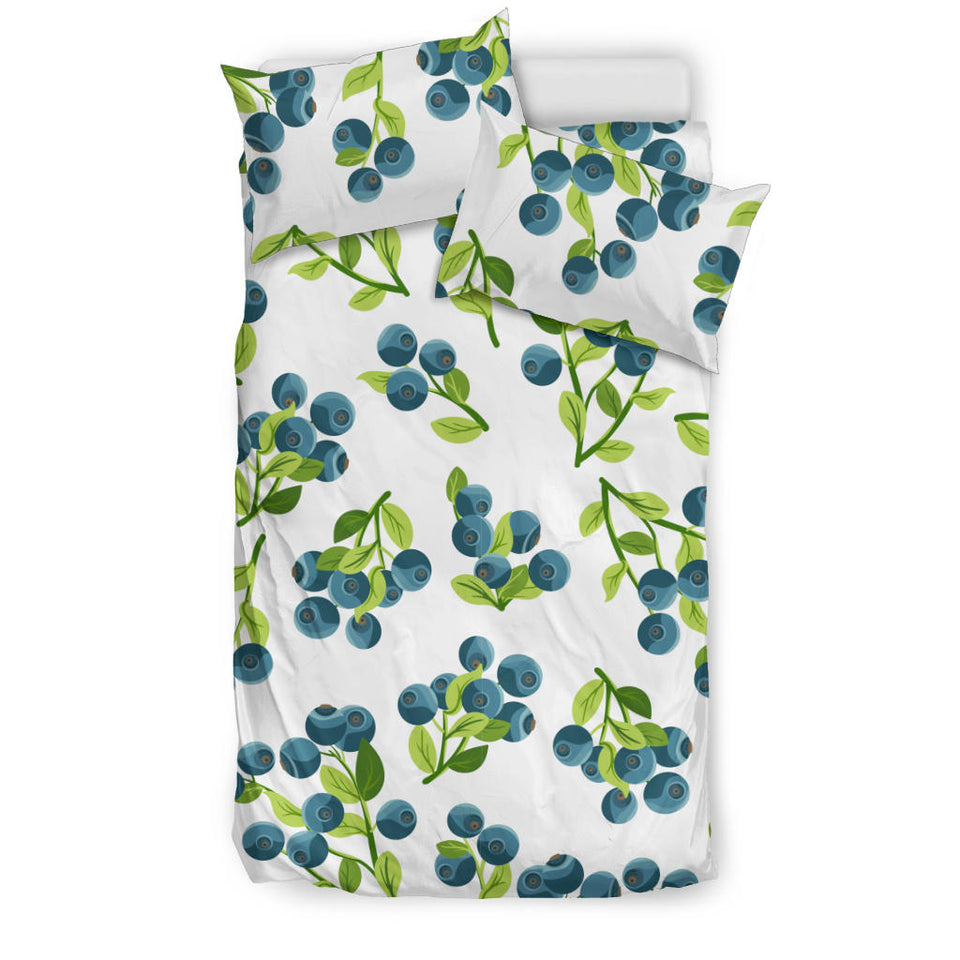 Blueberry White Background  Bedding Set