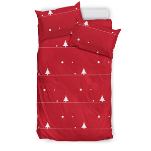 Christmas Tree Star Snow Red Background  Bedding Set