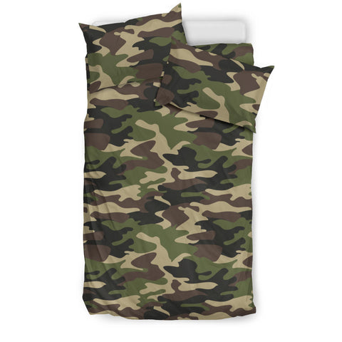 Dark Green camouflage pattern  Bedding set