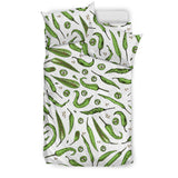 Hand Drawn Sketch Style Green Chili Peppers Pattern  Bedding Set