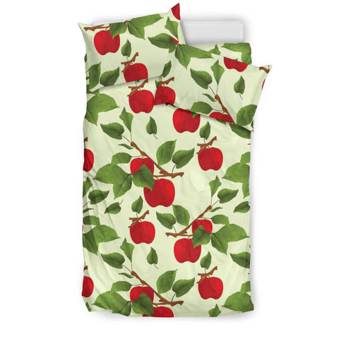 Red apples leaves pattern  Bedding set