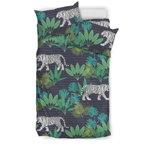 white bengal tigers tropical plant  Bedding set