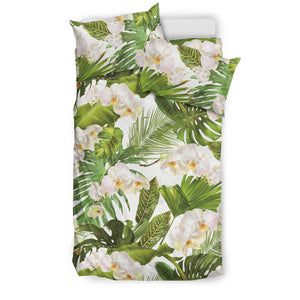 White orchid flower tropical leaves pattern Bedding Set