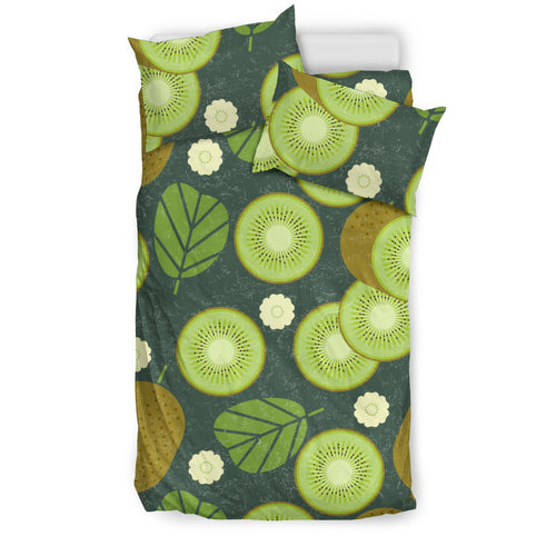 Whole Sliced Kiwi Leave And Flower Bedding Set