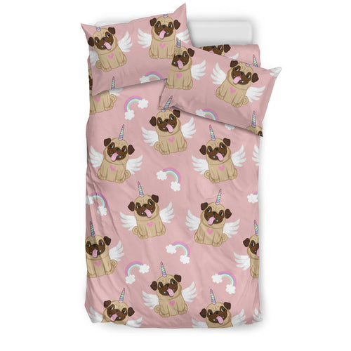 Cute Unicorn Pug Pattern Bedding Set
