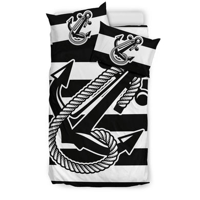 Anchor Bedding Nautical Bedding Stripe New Black Ccnc006 Bt0156