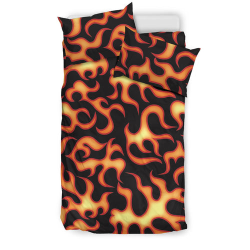 Fire Flame Dark Pattern Bedding Set Black