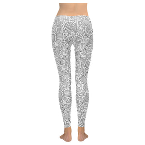 Cartoon hand drawn ice cream black white Women's Legging Fulfilled In US