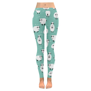 Cute sheep green background Women's Legging Fulfilled In US