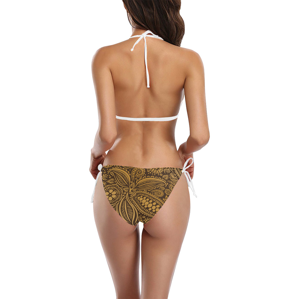 cacao beans tribal polynesian pattern background Sexy Bikinis Two-Piece Swimsuits