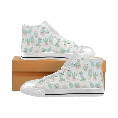 Pastel colorcactus pattern copy Women's High Top Shoes White Made in USA