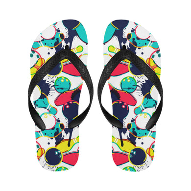 watercolor bowling ball pins Unisex Flip Flops